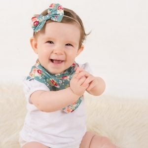 Handmade baby girl hair accessories in cabbage rose print