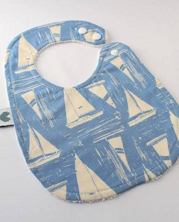 boys bibs in blue boats fabric print