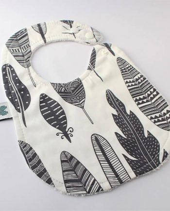 Baby Bibs Grey Feathers