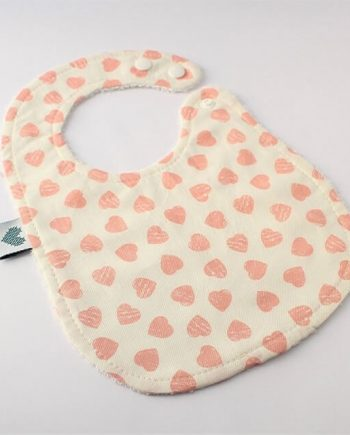 cute baby bibs in pink hearts fabric