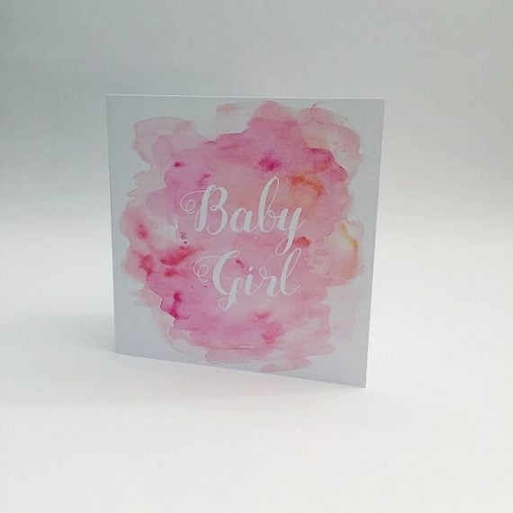 baby girl card in pink