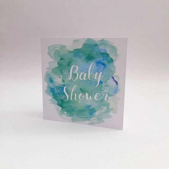 Baby shower card in aqua colour
