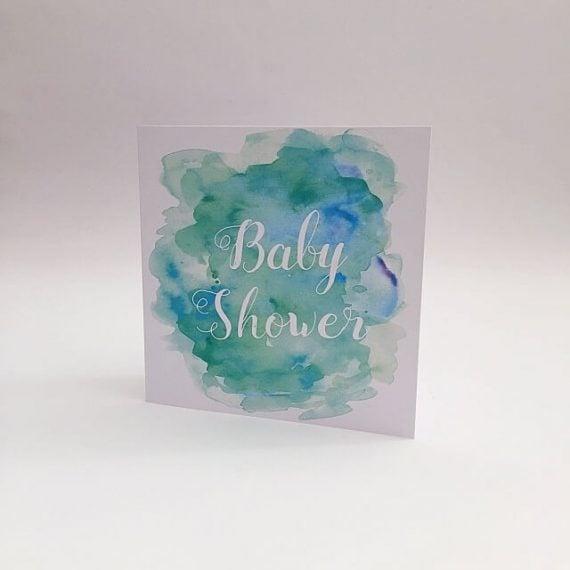 Aqua colour baby shower cards