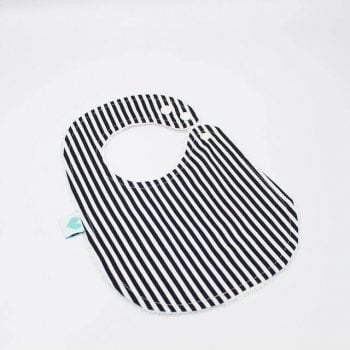 handmade baby bibs in black and white stripes