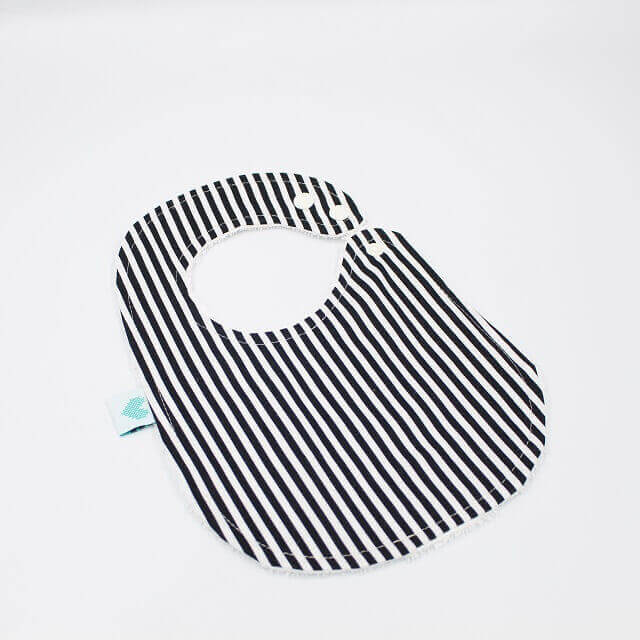 handmade baby bibs in white and black stripes