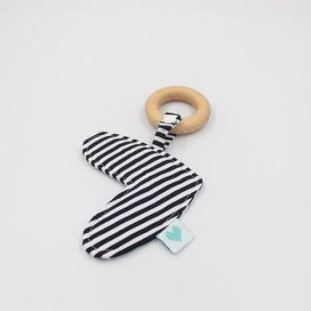 Baby chew toys in fabric black and white stripes