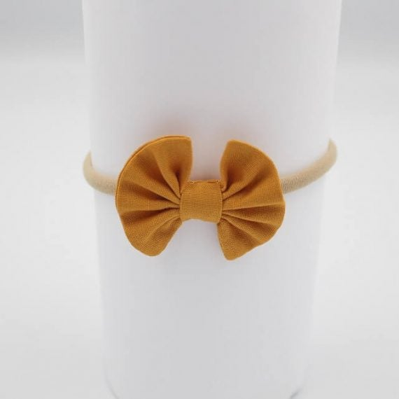 infant Headbands in Mustard Fabric