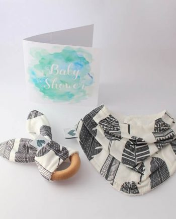 baby basket gift in grey feathers print