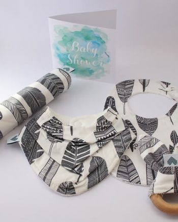 Large Baby Shower Gift Set Grey Feathers