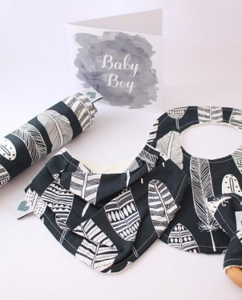 Large Baby Shower Gift Set Navy Feathers