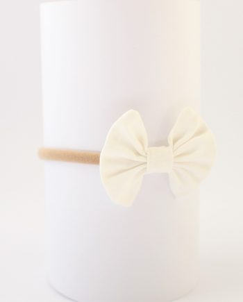bows for hair in off white fabric
