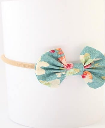 cute baby bow headbands in cabbage rose print