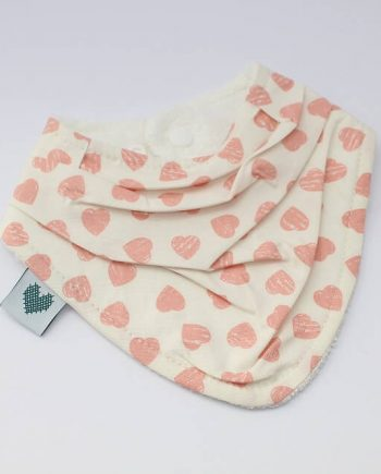 handkerchief bib in pink hearts fabric