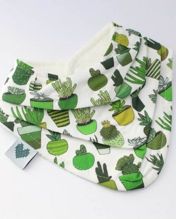 teething bibs in bandana style on succulents and cactus print