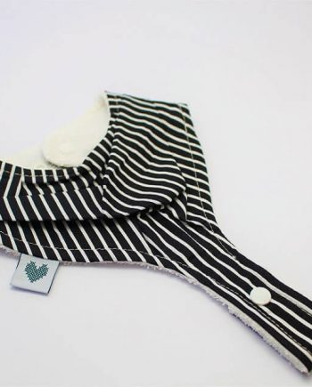 Pacifier holder bib in black and white stripes print
