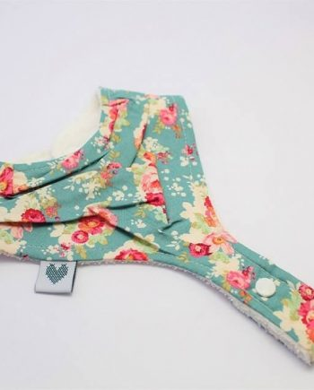 bib with pacifier clip in floral cabbage rose print