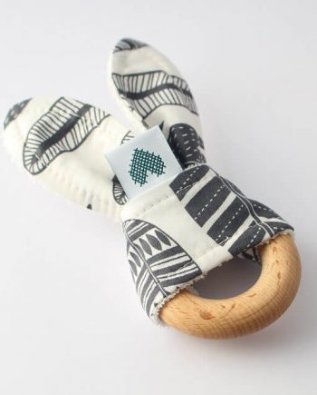 wooden teething ring with grey feathers fabric ears