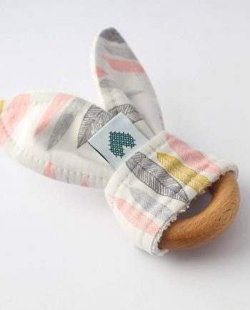 Bunny-Baby-Teething-Ring-Pink-Leaf-Line-Up