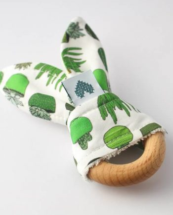 wooden teether in succulents and cactus print
