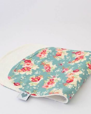cotton burp cloths in floral cabbage rose print