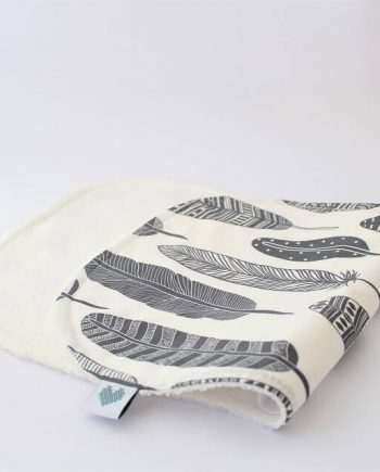 terry burp cloths in grey feathers fabric print