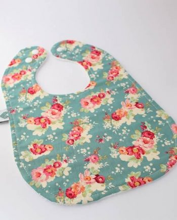 girls bibs in floral cabbage rose print
