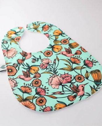handmade bibs in hummingbirds fabric