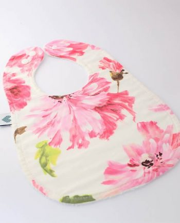 Baby teething bibs in pink blossom tallulah fabric