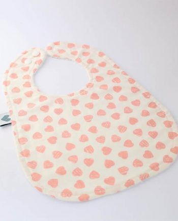 Large baby bibs with buttons in pink hearts fabric