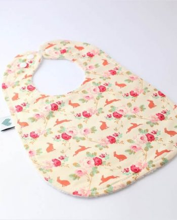 Large baby bibs in floral rabbits print