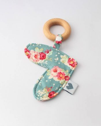 babies teething toys in floral cabbage rose print