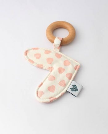 Love Heart Baby Teething Ring Pink Hearts