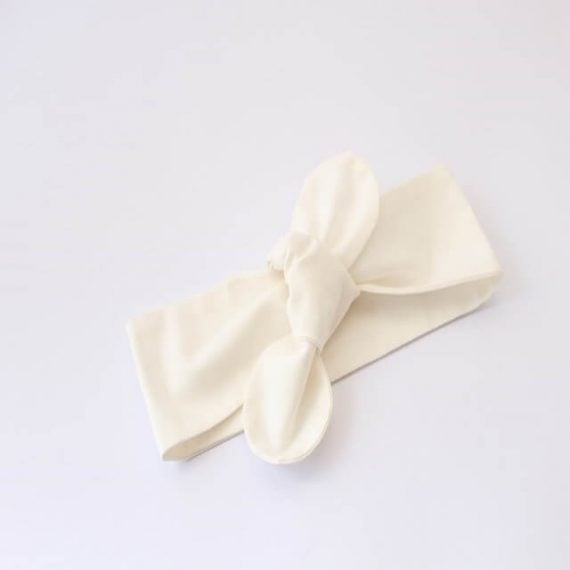 Bow headbands top knot in an off white fabric