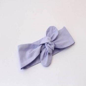 top knot headband in purple fabric
