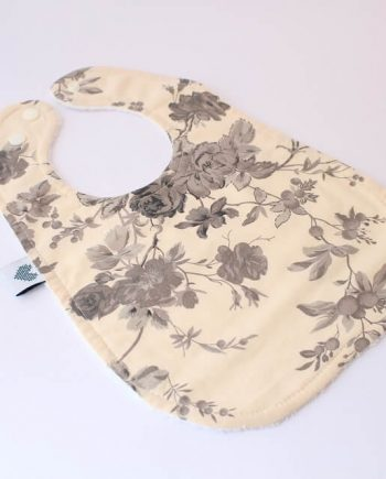 Large bibs for babies in black and white roses