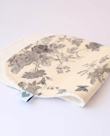 baby burp cloths in black and white roses print