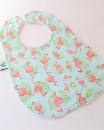 baby dribbling bib in flamingo fabric