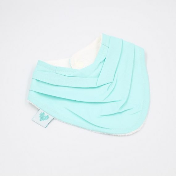 girls bib in aqua colour fabric