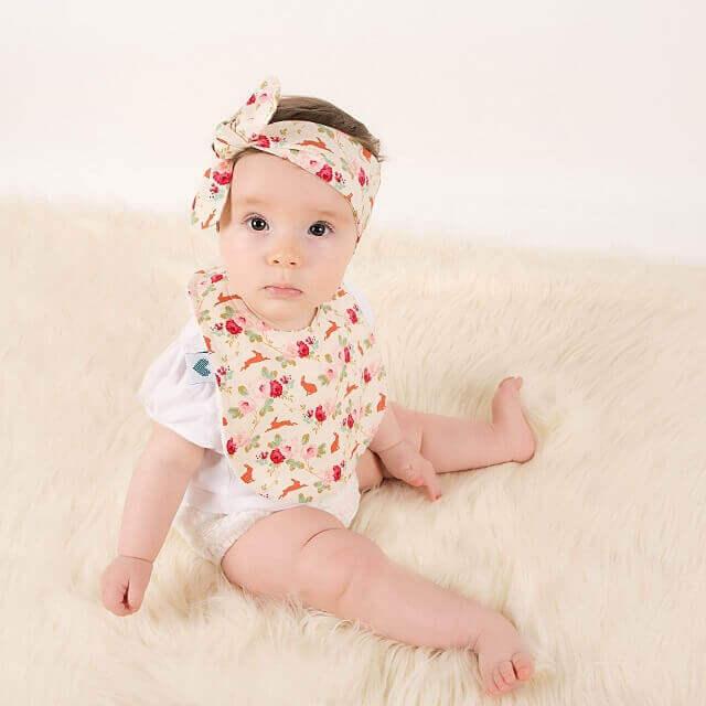 Baby wearing top knots headbands