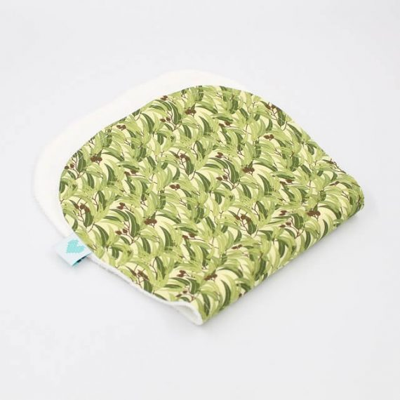 Stylish organic burping cloths in Eucalyptus print