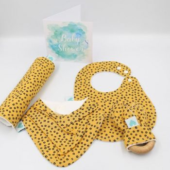 Baby boy gifts in spots in gold print
