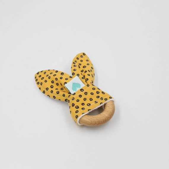 Spots in Gold print bunny wooden teething toy
