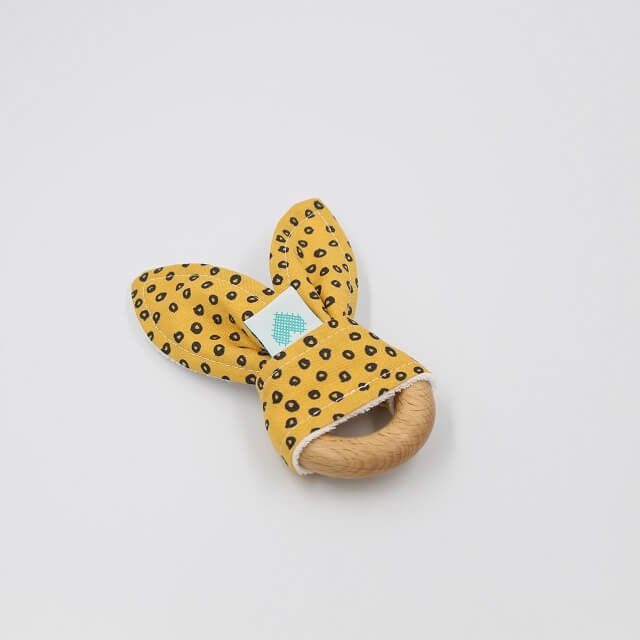 Bunny Teething Ring Spots In Gold