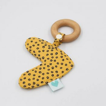 natural wood teethers in Spots in Gold fabric