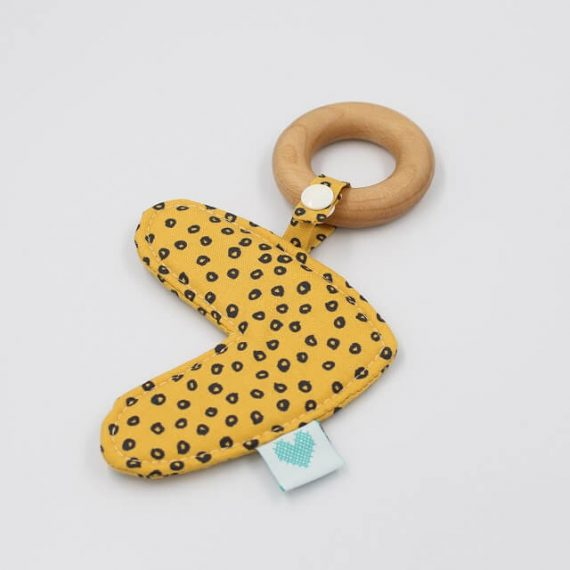 best teething rings in Spots in Gold fabric