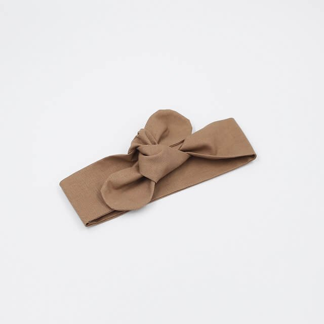 top knot headband baby in Burnt Almond coloured fabric