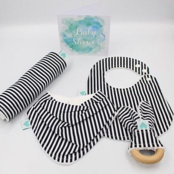 baby gifts in black and white stripes print