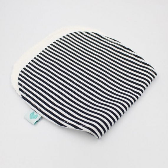 burp rags in black and white stripes print
