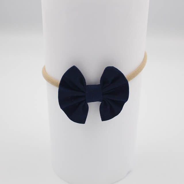 Navy fabric newborn baby girl headbands