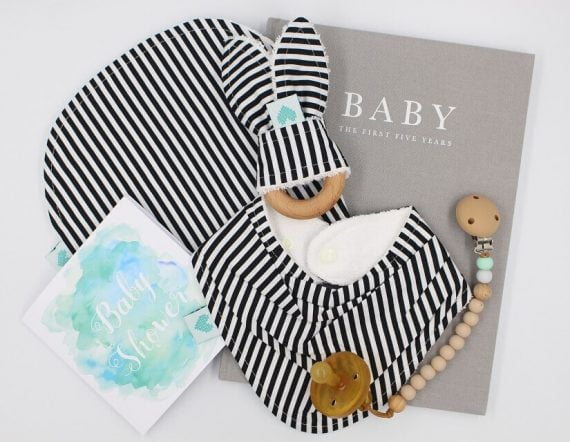 Deluxe Baby Gifts in Black and Whites Stripes Print